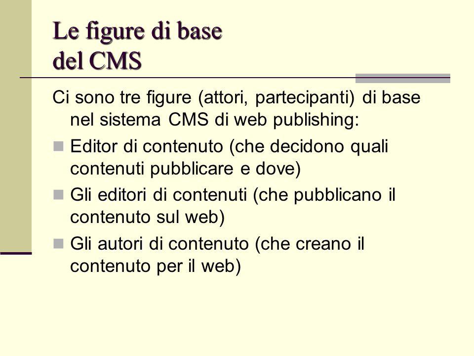 Le figure di base del CMS Ci sono tre figure (attori, partecipanti) di base nel sistema CMS di web publishing: Editor Editor di contenuto (che decidon