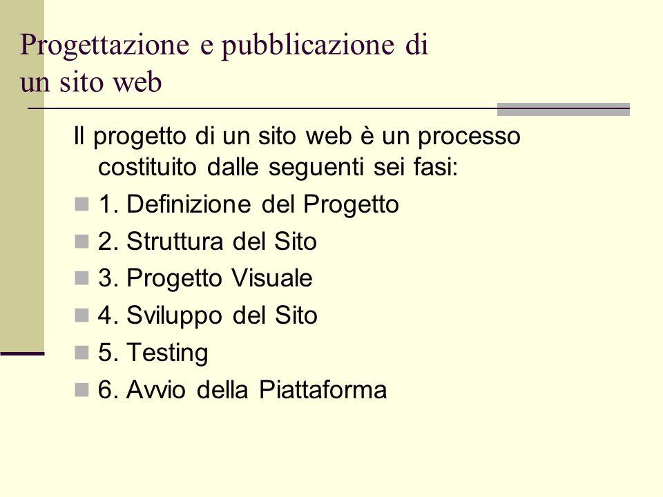 Progettazione e pubblicazione di un sito web Il progetto di un sito web è un processo costituito dalle seguenti sei fasi: 1. Definizione del Progetto