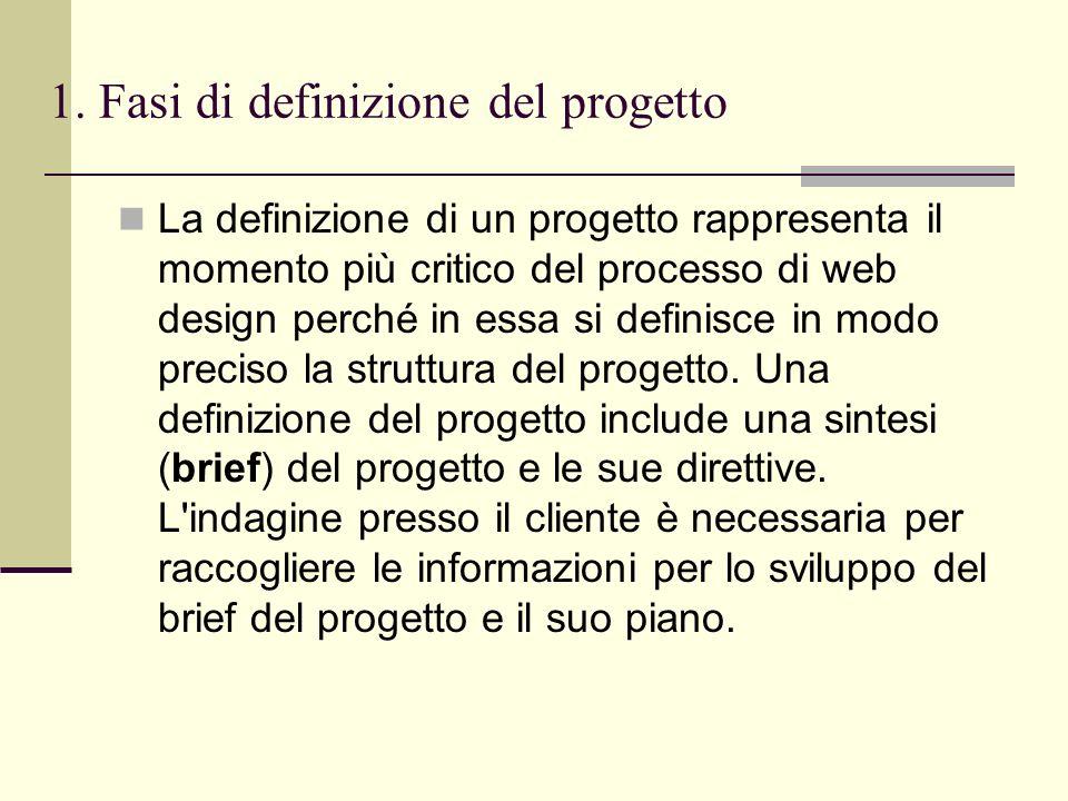 1. Fasi di definizione del progetto La definizione di un progetto rappresenta il momento più critico del processo di web design perché in essa si defi