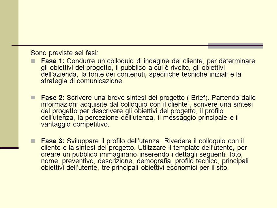 Sono previste sei fasi: Fase 1: Condurre un colloquio di indagine del cliente, per determinare gli obiettivi del progetto, il pubblico a cui è rivolto