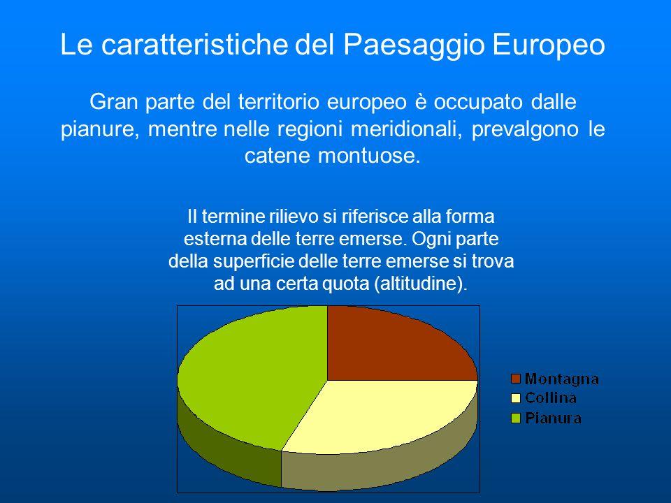 Le caratteristiche del Paesaggio Europeo Gran parte del territorio europeo è occupato dalle pianure, mentre nelle regioni meridionali, prevalgono le c