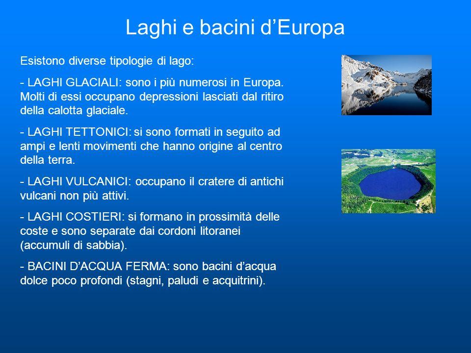 Laghi e bacini dEuropa Esistono diverse tipologie di lago: - LAGHI GLACIALI: sono i più numerosi in Europa. Molti di essi occupano depressioni lasciat