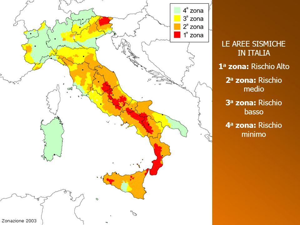 LE AREE SISMICHE IN ITALIA 1 a zona: Rischio Alto 2 a zona: Rischio medio 3 a zona: Rischio basso 4 a zona: Rischio minimo