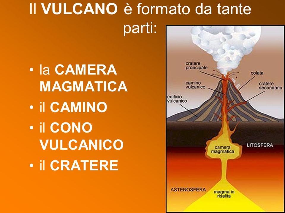 la CAMERA MAGMATICA il CAMINO il CONO VULCANICO il CRATERE Il VULCANO è formato da tante parti:
