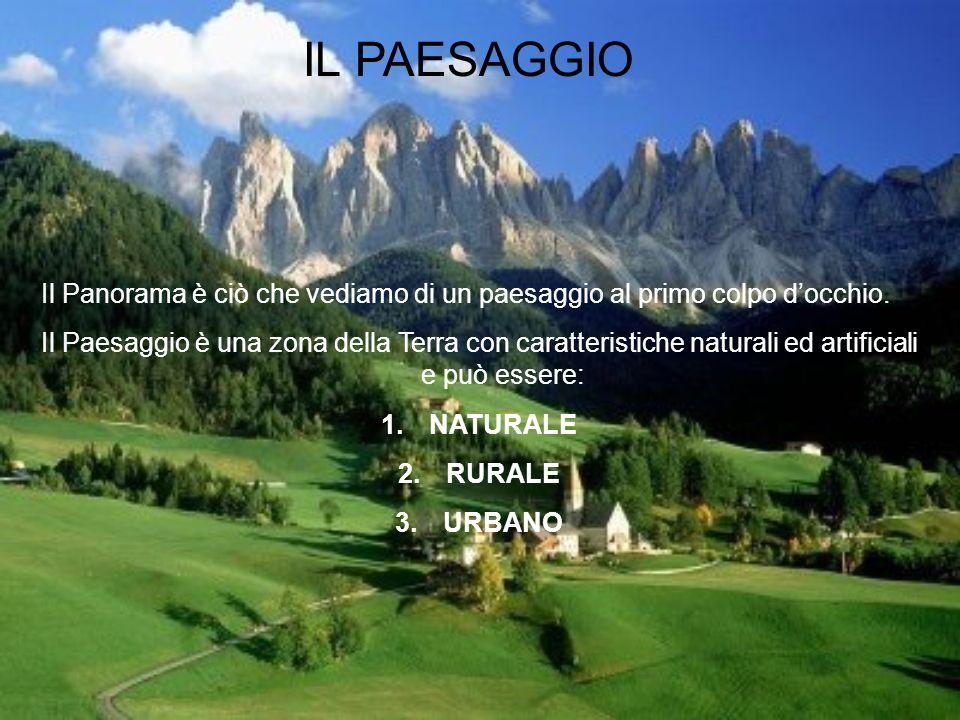 IL PAESAGGIO Il Panorama è ciò che vediamo di un paesaggio al primo colpo docchio. Il Paesaggio è una zona della Terra con caratteristiche naturali ed