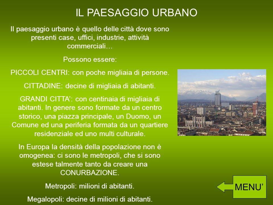 IL PAESAGGIO URBANO Il paesaggio urbano è quello delle città dove sono presenti case, uffici, industrie, attività commerciali… Possono essere: PICCOLI CENTRI: con poche migliaia di persone.