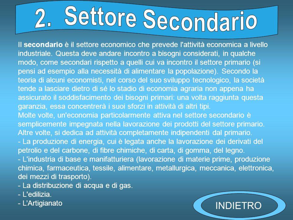 Il secondario è il settore economico che prevede l attività economica a livello industriale.