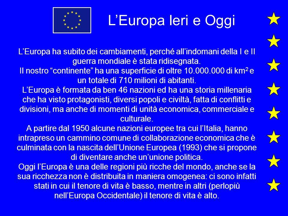 LEuropa Ieri e Oggi LEuropa ha subito dei cambiamenti, perché allindomani della I e II guerra mondiale è stata ridisegnata. Il nostro continente ha un