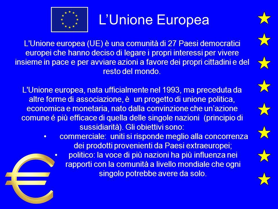 LUnione Europea L Unione europea (UE) è una comunità di 27 Paesi democratici europei che hanno deciso di legare i propri interessi per vivere insieme in pace e per avviare azioni a favore dei propri cittadini e del resto del mondo.
