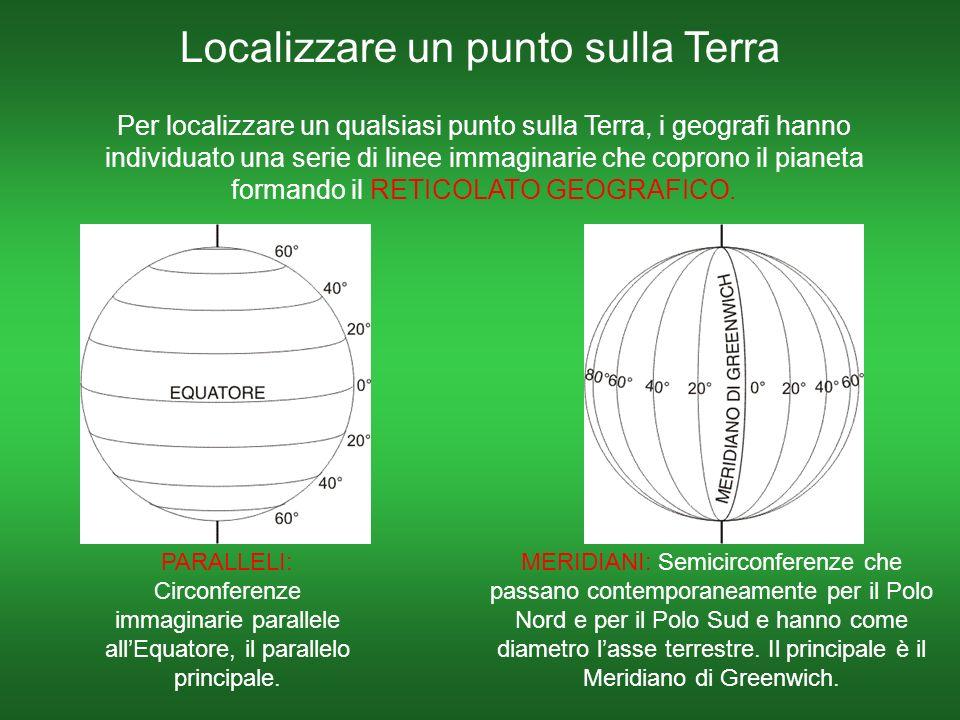 Localizzare un punto sulla Terra Per localizzare un qualsiasi punto sulla Terra, i geografi hanno individuato una serie di linee immaginarie che coprono il pianeta formando il RETICOLATO GEOGRAFICO.