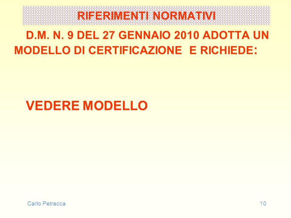 Carlo Petracca10 RIFERIMENTI NORMATIVI D.M. N. 9 DEL 27 GENNAIO 2010 ADOTTA UN MODELLO DI CERTIFICAZIONE E RICHIEDE : VEDERE MODELLO
