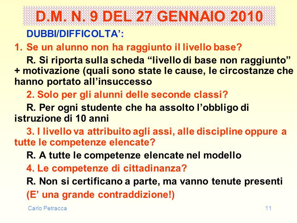 Carlo Petracca11 D.M. N. 9 DEL 27 GENNAIO 2010 DUBBI/DIFFICOLTA: 1.Se un alunno non ha raggiunto il livello base? R. Si riporta sulla scheda livello d