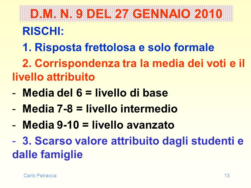 Carlo Petracca13 D.M. N. 9 DEL 27 GENNAIO 2010 RISCHI: 1. Risposta frettolosa e solo formale 2. Corrispondenza tra la media dei voti e il livello attr