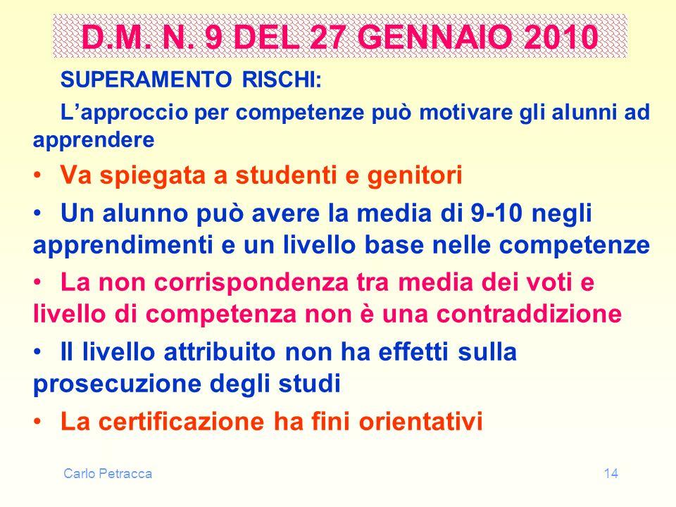 Carlo Petracca14 D.M. N. 9 DEL 27 GENNAIO 2010 SUPERAMENTO RISCHI: Lapproccio per competenze può motivare gli alunni ad apprendere Va spiegata a stude