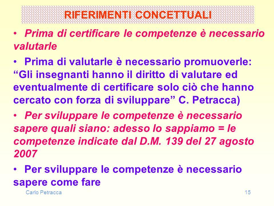Carlo Petracca15 RIFERIMENTI CONCETTUALI Prima di certificare le competenze è necessario valutarle Prima di valutarle è necessario promuoverle: Gli in