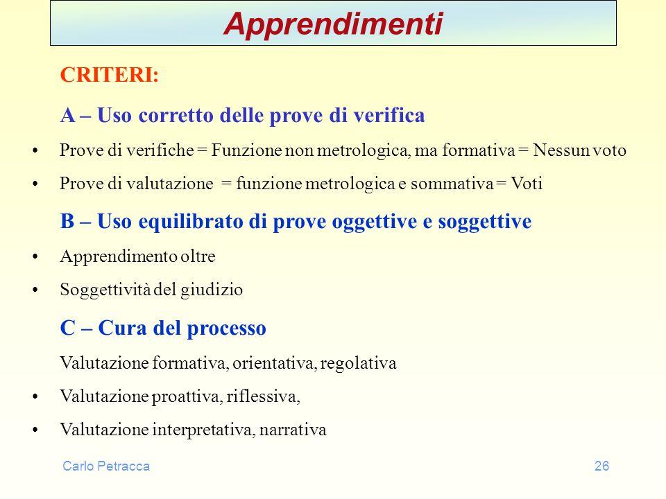 Carlo Petracca26 Apprendimenti CRITERI: A – Uso corretto delle prove di verifica Prove di verifiche = Funzione non metrologica, ma formativa = Nessun