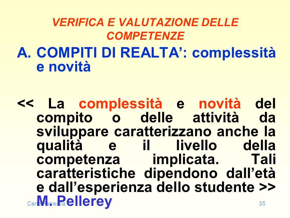 Carlo Petracca35 VERIFICA E VALUTAZIONE DELLE COMPETENZE A.COMPITI DI REALTA: complessità e novità > M. Pellerey