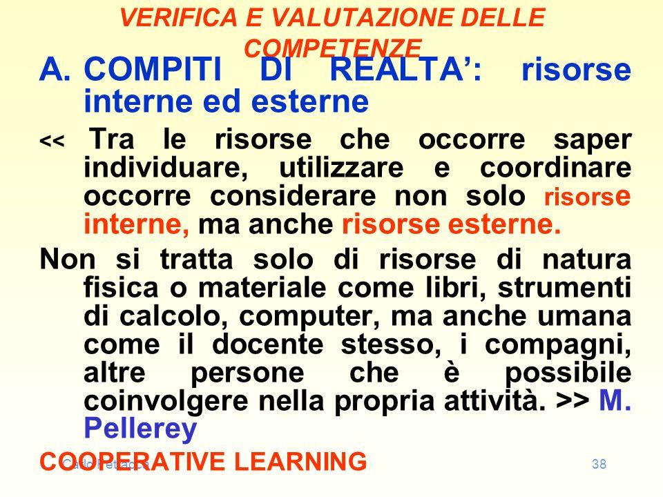 Carlo Petracca38 VERIFICA E VALUTAZIONE DELLE COMPETENZE A.COMPITI DI REALTA: risorse interne ed esterne << Tra le risorse che occorre saper individua