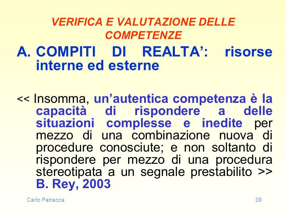 Carlo Petracca39 VERIFICA E VALUTAZIONE DELLE COMPETENZE A.COMPITI DI REALTA: risorse interne ed esterne > B. Rey, 2003