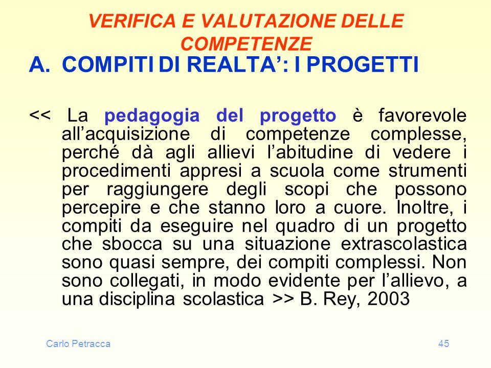 Carlo Petracca45 VERIFICA E VALUTAZIONE DELLE COMPETENZE A.COMPITI DI REALTA: I PROGETTI > B. Rey, 2003