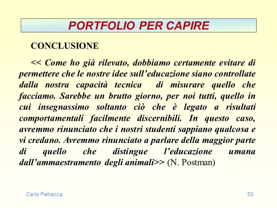 Carlo Petracca53 PORTFOLIO PER CAPIRE CONCLUSIONE > (N. Postman)