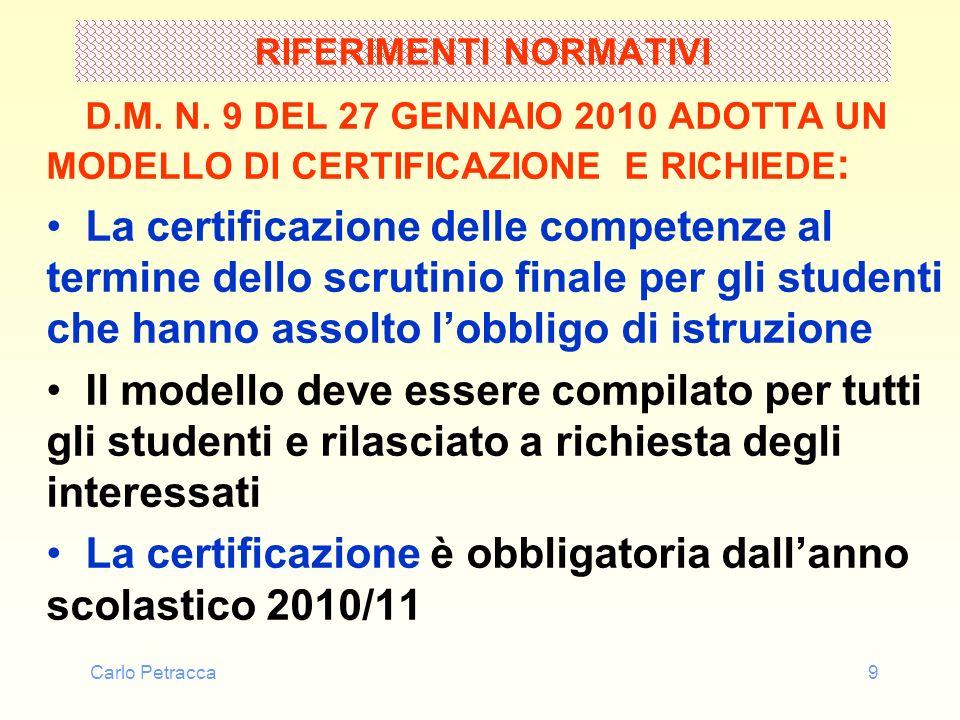Carlo Petracca10 RIFERIMENTI NORMATIVI D.M.N.