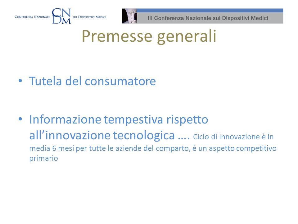Premesse generali Tutela del consumatore Informazione tempestiva rispetto allinnovazione tecnologica ….