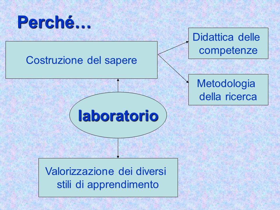 Perché… laboratorio Didattica delle competenze Valorizzazione dei diversi stili di apprendimento Costruzione del sapere Metodologia della ricerca