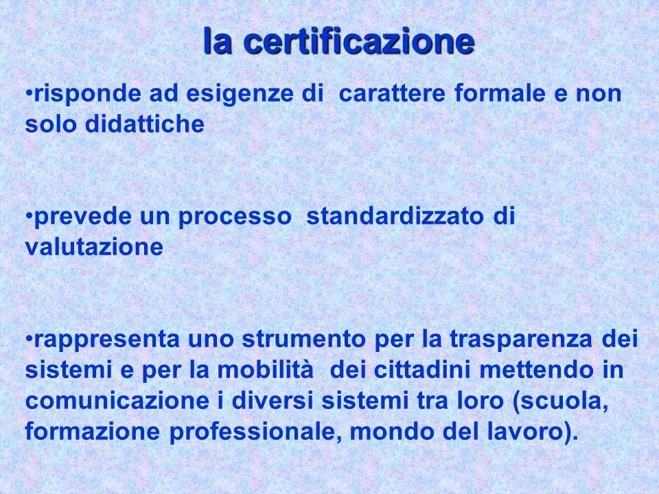 la certificazione risponde ad esigenze di carattere formale e non solo didattiche prevede un processo standardizzato di valutazione rappresenta uno st