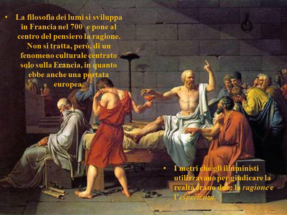 La filosofia dei lumi Lespressione filosofia dei lumi divenne di uso comune nel 1770, ma già in precedenza si diceva che certe credenze,costumi,istitu