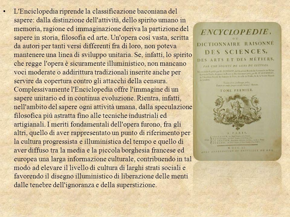 La maggior impresa culturale dellilluminismo fu lEnciclopedia, una monumentale opera diretta dal matematico dAlembert e dal filosofo Diderot. Il primo