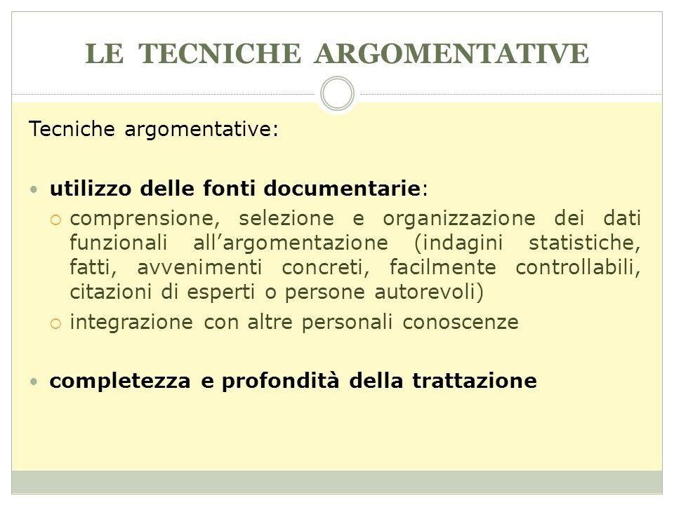 LE TECNICHE ARGOMENTATIVE Tecniche argomentative: utilizzo delle fonti documentarie: comprensione, selezione e organizzazione dei dati funzionali alla