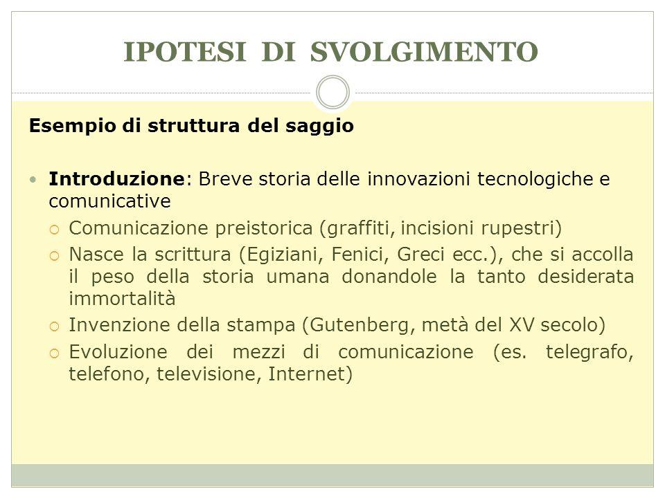 IPOTESI DI SVOLGIMENTO Esempio di struttura del saggio Introduzione: Breve storia delle innovazioni tecnologiche e comunicative Comunicazione preistor