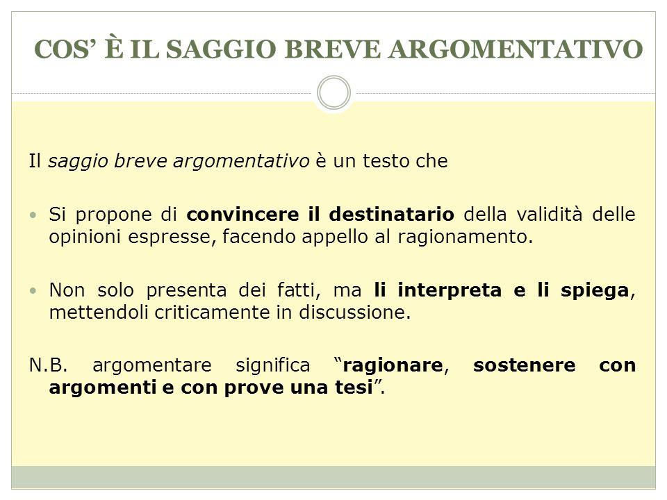 COS È IL SAGGIO BREVE ARGOMENTATIVO Il saggio breve argomentativo è un testo che Si propone di convincere il destinatario della validità delle opinioni espresse, facendo appello al ragionamento.