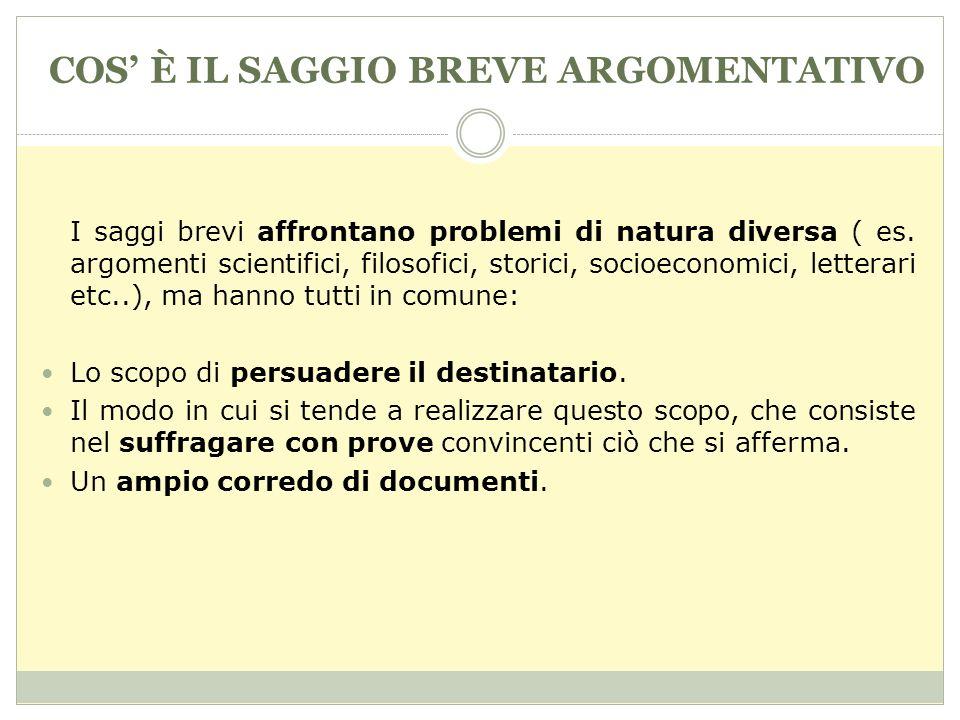 COS È IL SAGGIO BREVE ARGOMENTATIVO I saggi brevi affrontano problemi di natura diversa ( es.