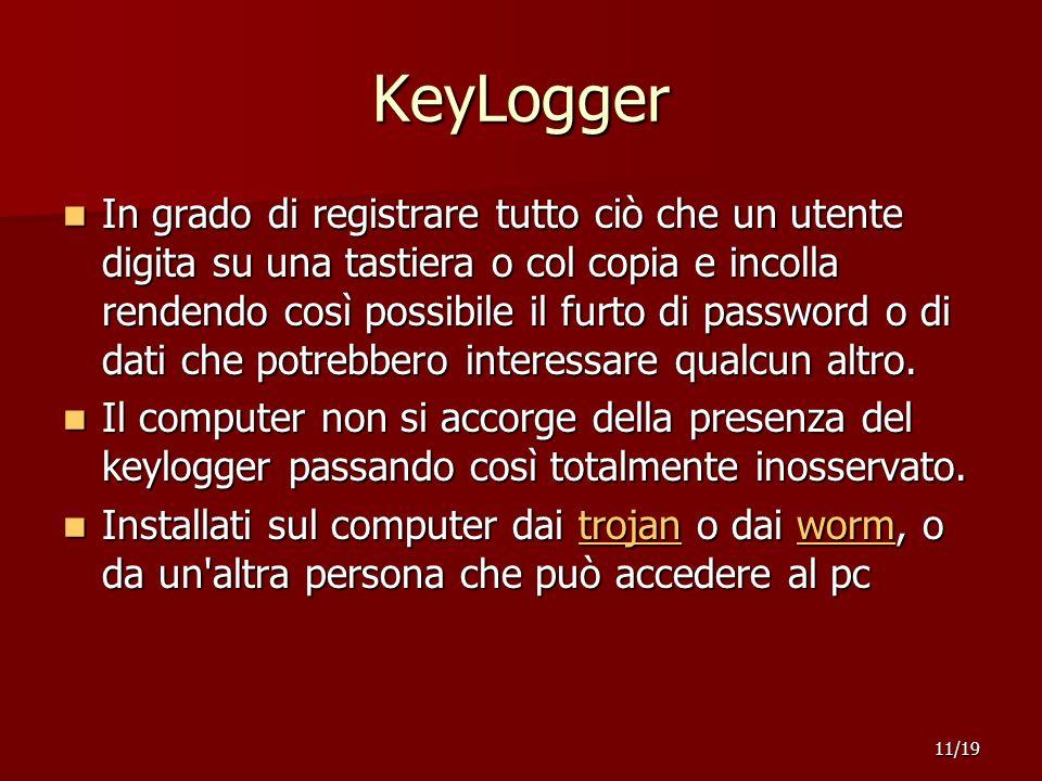 KeyLogger In grado di registrare tutto ciò che un utente digita su una tastiera o col copia e incolla rendendo così possibile il furto di password o di dati che potrebbero interessare qualcun altro.