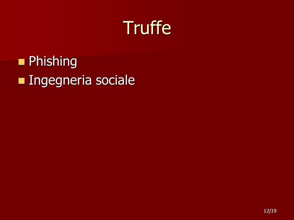 Truffe Phishing Phishing Ingegneria sociale Ingegneria sociale 12/19