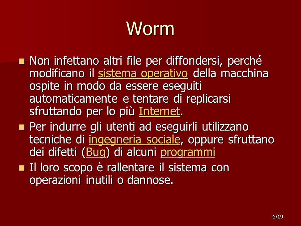 Worm Non infettano altri file per diffondersi, perché modificano il sistema operativo della macchina ospite in modo da essere eseguiti automaticamente e tentare di replicarsi sfruttando per lo più Internet.