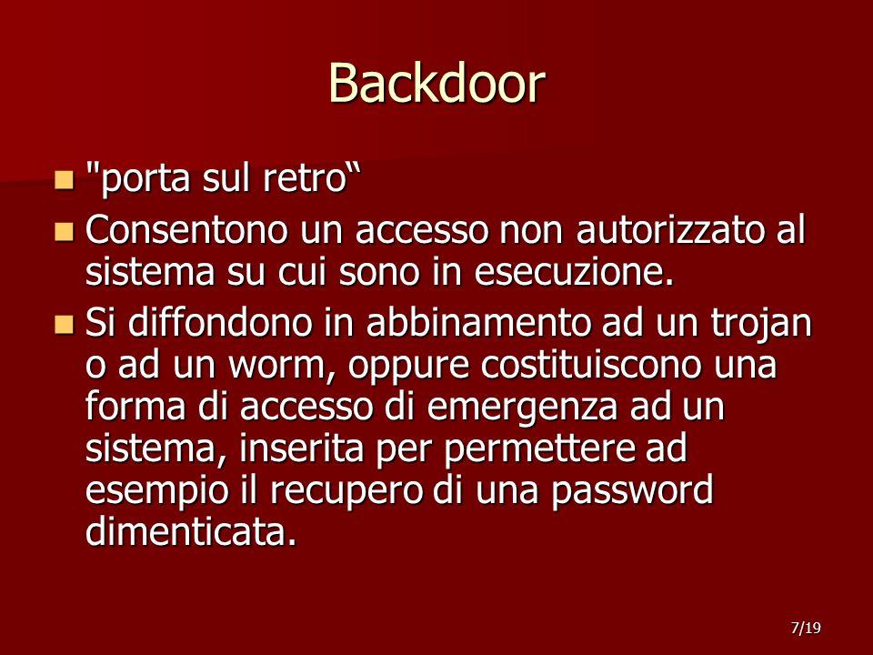 Backdoor porta sul retro porta sul retro Consentono un accesso non autorizzato al sistema su cui sono in esecuzione.