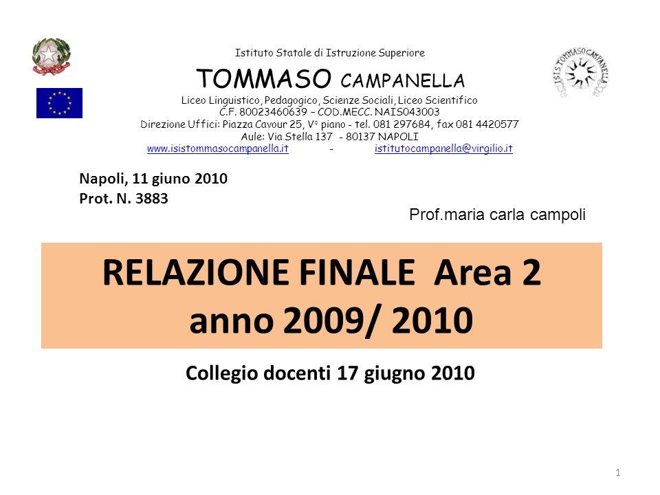 RELAZIONE FINALE Area 2 anno 2009/ 2010 Collegio docenti 17 giugno 2010 Istituto Statale di Istruzione Superiore TOMMASO CAMPANELLA Liceo Linguistico,