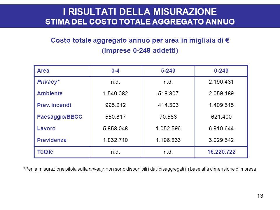 13 I RISULTATI DELLA MISURAZIONE STIMA DEL COSTO TOTALE AGGREGATO ANNUO Costo totale aggregato annuo per area in migliaia di (imprese 0-249 addetti) *