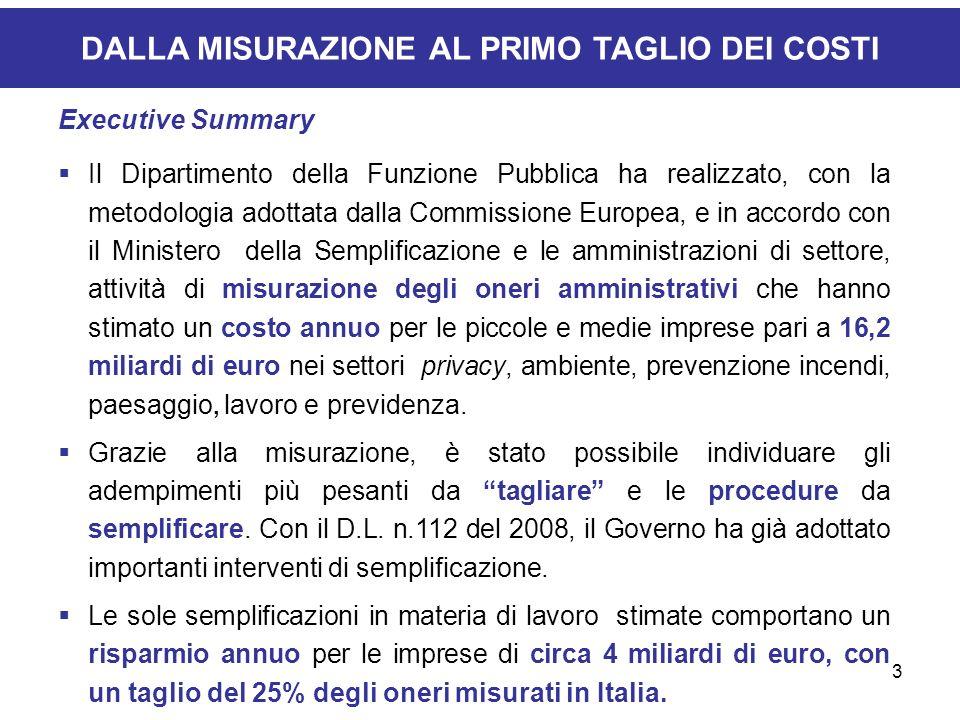 3 DALLA MISURAZIONE AL PRIMO TAGLIO DEI COSTI Executive Summary Il Dipartimento della Funzione Pubblica ha realizzato, con la metodologia adottata dal