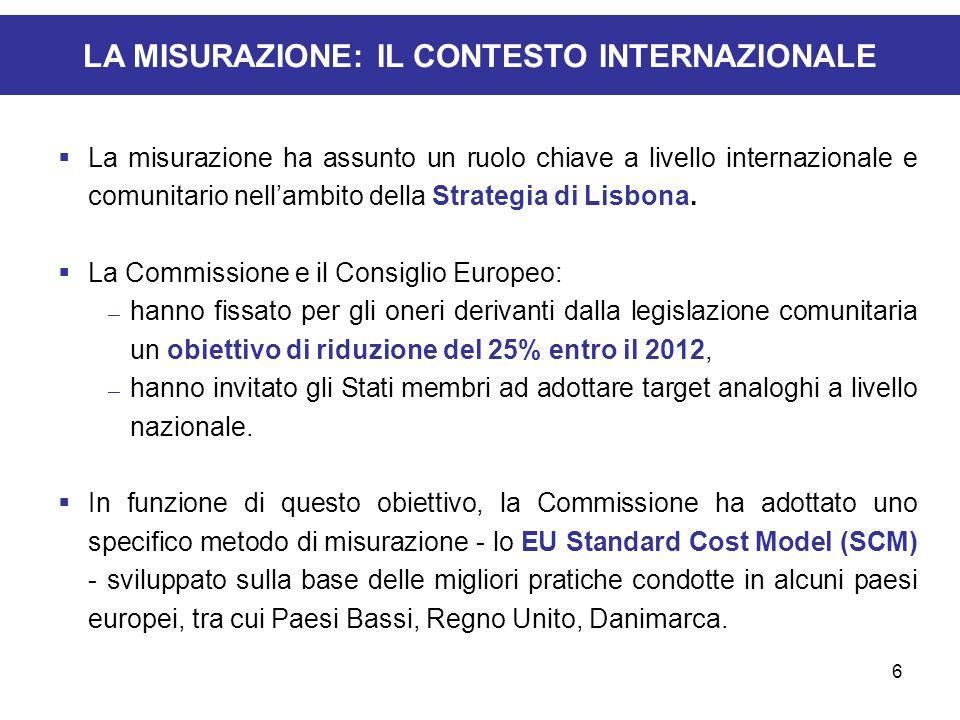6 LA MISURAZIONE: IL CONTESTO INTERNAZIONALE La misurazione ha assunto un ruolo chiave a livello internazionale e comunitario nellambito della Strateg