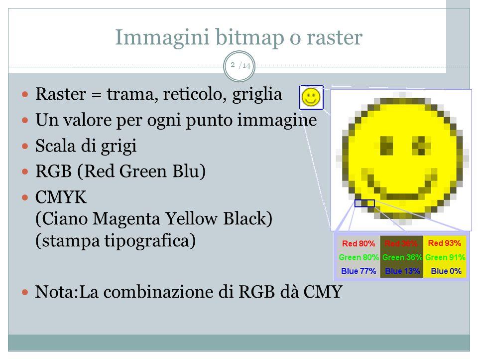 /14 Immagini bitmap o raster Raster = trama, reticolo, griglia Un valore per ogni punto immagine Scala di grigi RGB (Red Green Blu) CMYK (Ciano Magent