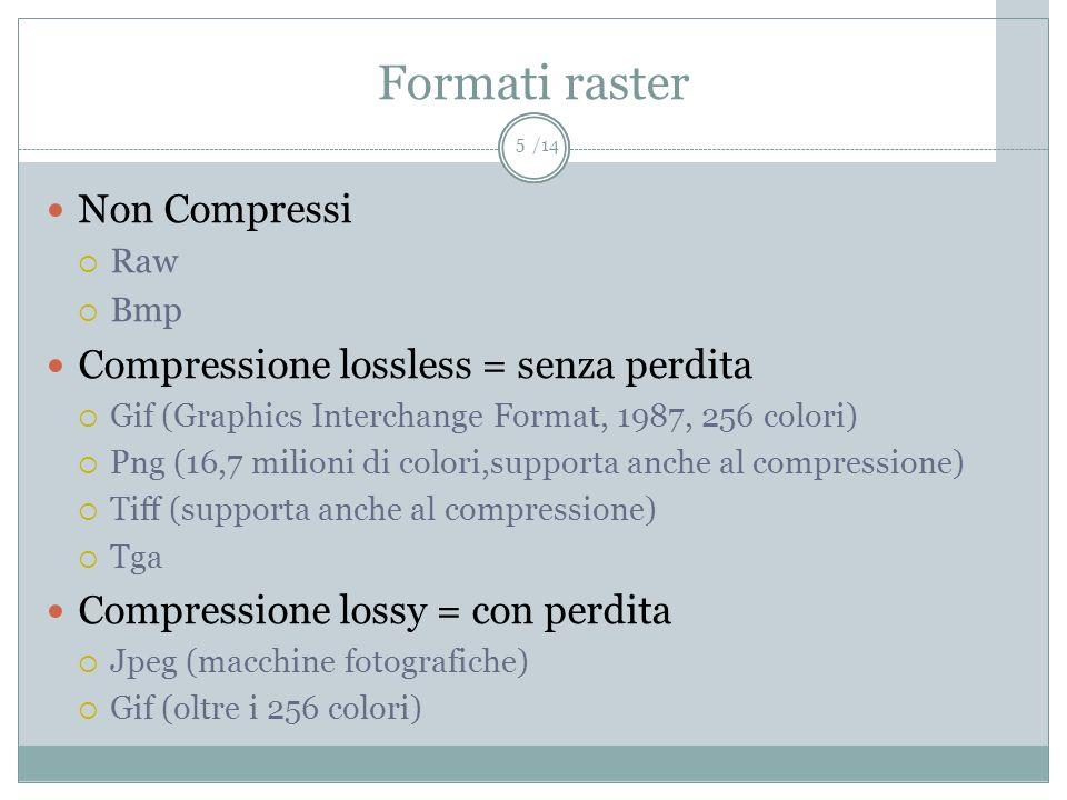 /14 Formati raster Non Compressi Raw Bmp Compressione lossless = senza perdita Gif (Graphics Interchange Format, 1987, 256 colori) Png (16,7 milioni d