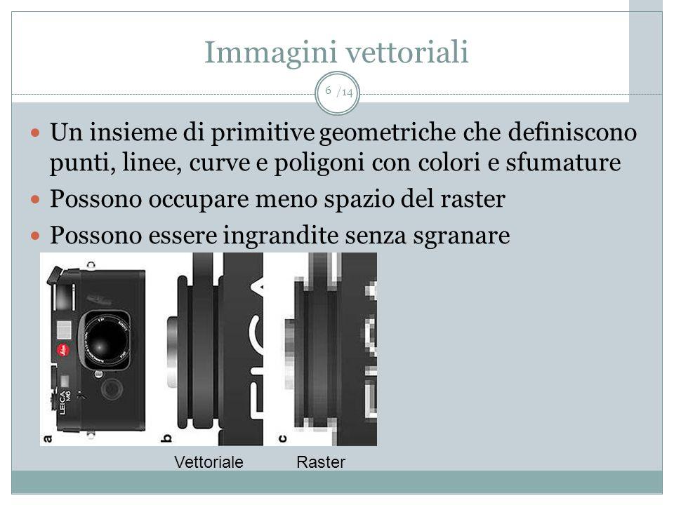 /14 Immagini vettoriali Un insieme di primitive geometriche che definiscono punti, linee, curve e poligoni con colori e sfumature Possono occupare men