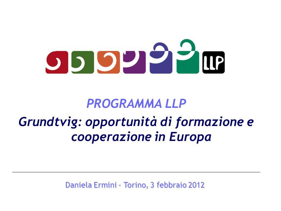 PROGRAMMA LLP Grundtvig: opportunità di formazione e cooperazione in Europa Daniela Ermini - Torino, 3 febbraio 2012