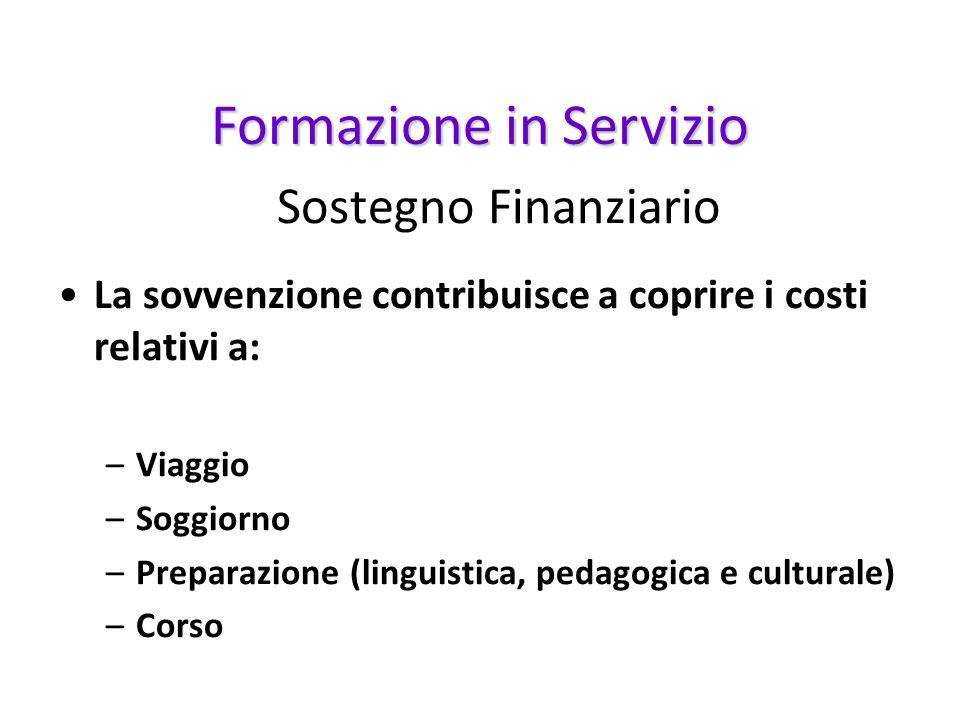 Sostegno Finanziario La sovvenzione contribuisce a coprire i costi relativi a: –Viaggio –Soggiorno –Preparazione (linguistica, pedagogica e culturale)
