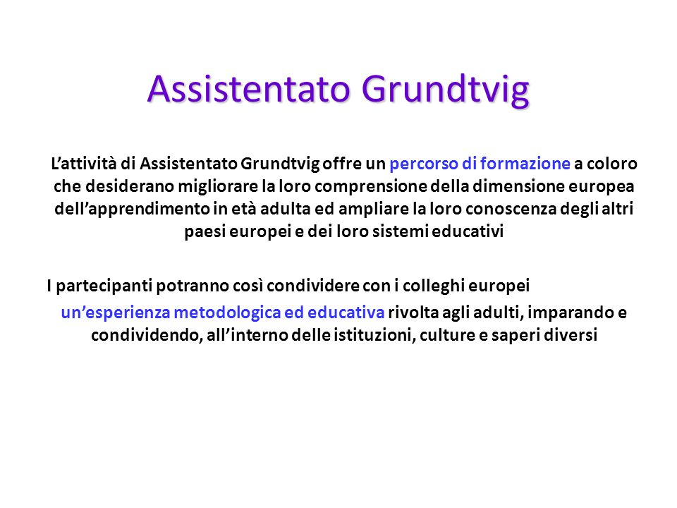 Lattività di Assistentato Grundtvig offre un percorso di formazione a coloro che desiderano migliorare la loro comprensione della dimensione europea d