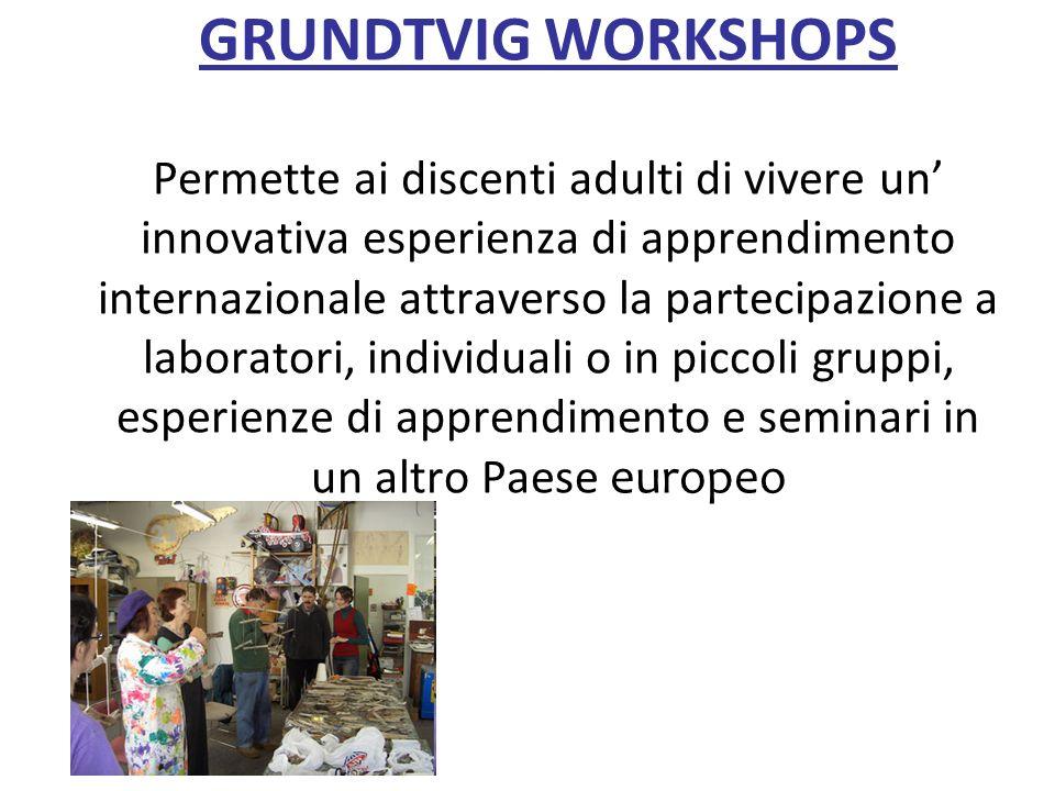 GRUNDTVIG WORKSHOPS Permette ai discenti adulti di vivere un innovativa esperienza di apprendimento internazionale attraverso la partecipazione a labo